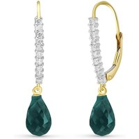Green Diamond & Emerald Laced Stem Drop Earrings in 9ct Gold - Green Gifts