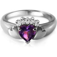 Heart Shaped Amethyst Ring 0.75 ctw in 9ct White Gold