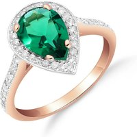 Lab Grown Emerald and Diamond Halo Ring 1.69 ctw in 9ct Rose Gold