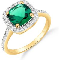 Lab Grown Emerald and Diamond Halo Ring 1.85 ctw in 9ct Gold