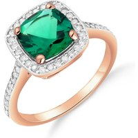 Lab Grown Emerald and Diamond Halo Ring 1.85 ctw in 9ct Rose Gold