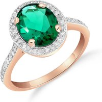 Lab Grown Emerald and Diamond Halo Ring 2.15 ctw in 9ct Rose Gold