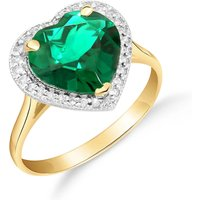 Lab Grown Emerald and Diamond Halo Ring 2.89 ctw in 9ct Gold