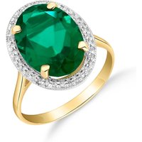 Lab Grown Emerald and Diamond Halo Ring 4.68 ctw in 9ct Gold