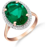 Lab Grown Emerald and Diamond Halo Ring 4.68 ctw in 9ct Rose Gold