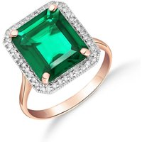 Lab Grown Emerald and Diamond Halo Ring 4.7 ctw in 9ct Rose Gold