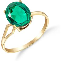 Lab Grown Emerald Claw Set Ring 1.9 ct in 9ct Gold