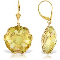 Lemon Quartz Chequer Earrings 34 ctw in 9ct Gold