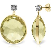 Lemon Quartz Stud Earrings 34.06 ctw in 9ct Gold - Qp Jewellers Gifts