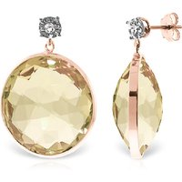 Lemon Quartz Stud Earrings 34.06 ctw in 9ct Rose Gold - Qp Jewellers Gifts