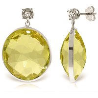 Lemon Quartz Stud Earrings 34.06 ctw in 9ct White Gold - Qp Jewellers Gifts