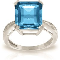 Octagon Cut Blue Topaz Ring 7.62 ctw in 9ct White Gold