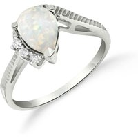Opal and Diamond Belle Ring in 9ct White Gold