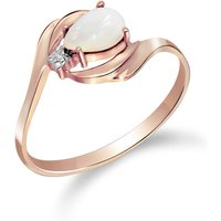 Opal and Diamond Flare Ring in 9ct Rose Gold