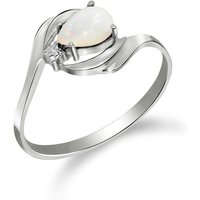 Opal and Diamond Flare Ring in 9ct White Gold