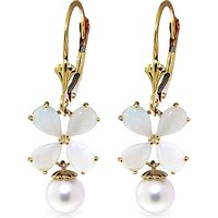 Opal and Pearl Drop Earrings in 9ct Gold