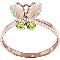 Opal & Peridot Butterfly Ring in 9ct Rose Gold - Butterfly Gifts