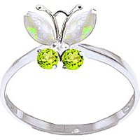 Opal and Peridot Butterfly Ring in 9ct White Gold