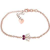 Opal and Ruby Adjustable Butterfly Bracelet in 9ct Rose Gold