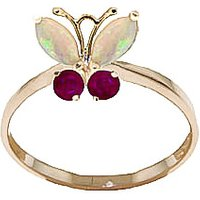Opal & Ruby Butterfly Ring in 9ct Gold - Fashion Gifts