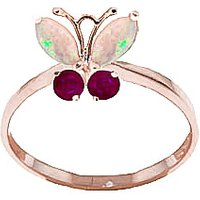 Opal & Ruby Butterfly Ring in 9ct Rose Gold - Butterfly Gifts