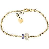 Opal and Tanzanite Adjustable Butterfly Bracelet in 9ct Gold