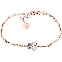 Opal and Tanzanite Adjustable Butterfly Bracelet in 9ct Rose Gold