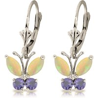 Opal & Tanzanite Butterfly Drop Earrings in 9ct White Gold - Jewellery Gifts