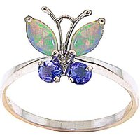 Opal & Tanzanite Butterfly Ring in 9ct Rose Gold - Butterfly Gifts