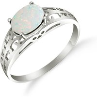 Opal Catalan Filigree Ring 0.45 ct in 18ct White Gold