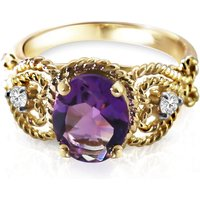 Oval Cut Amethyst Ring 2.4 ctw in 18ct Gold