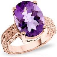 Oval Cut Amethyst Ring 7.5 ct in 9ct Rose Gold