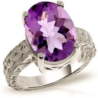 Oval Cut Amethyst Ring 7.5 ct in 9ct White Gold
