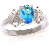 Oval Cut Blue Topaz Ring 0.97 ctw in 9ct White Gold