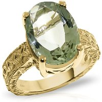 Oval Cut Green Amethyst Ring 7.5 ct in 9ct Gold
