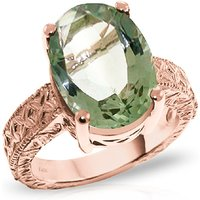 Oval Cut Green Amethyst Ring 7.5 ct in 9ct Rose Gold