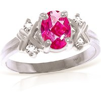 Oval Cut Pink Topaz Ring 0.97 ctw in 18ct White Gold - Pink Gifts