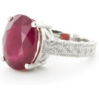 Oval Cut Ruby Ring 8 ct in 9ct White Gold