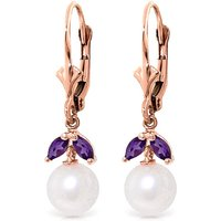 Pearl and Amethyst Dewdrop Earrings in 9ct Rose Gold