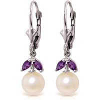 Pearl and Amethyst Dewdrop Earrings in 9ct White Gold