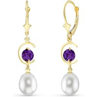 Pearl & Amethyst Drop Earrings in 9ct Gold - Qp Jewellers Gifts