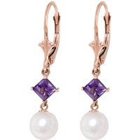 Pearl & Amethyst Drop Earrings in 9ct Rose Gold - Qp Jewellers Gifts