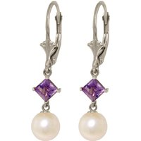 Pearl & Amethyst Drop Earrings in 9ct White Gold - Qp Jewellers Gifts