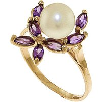 Pearl & Amethyst Ivy Ring in 9ct Gold - Fashion Gifts