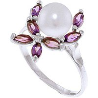 Pearl and Amethyst Ivy Ring in 9ct White Gold