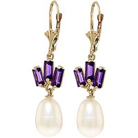 Pearl and Amethyst Ternary Drop Earrings in 9ct Gold