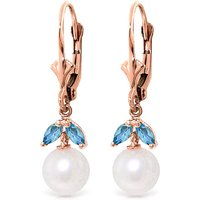 Pearl and Blue Topaz Dewdrop Earrings in 9ct Rose Gold