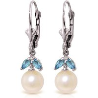 Pearl and Blue Topaz Dewdrop Earrings in 9ct White Gold