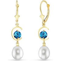 Pearl & Blue Topaz Drop Earrings in 9ct Gold - Qp Jewellers Gifts