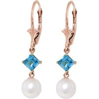 Pearl & Blue Topaz Drop Earrings in 9ct Rose Gold - Qp Jewellers Gifts